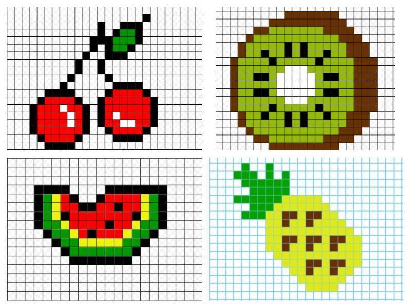 Рисунки по клеточкам маленькие и легкие еда