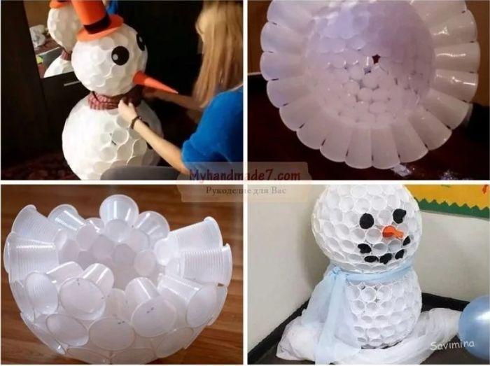 Как сделать снеговика из пластиковых стаканчиков